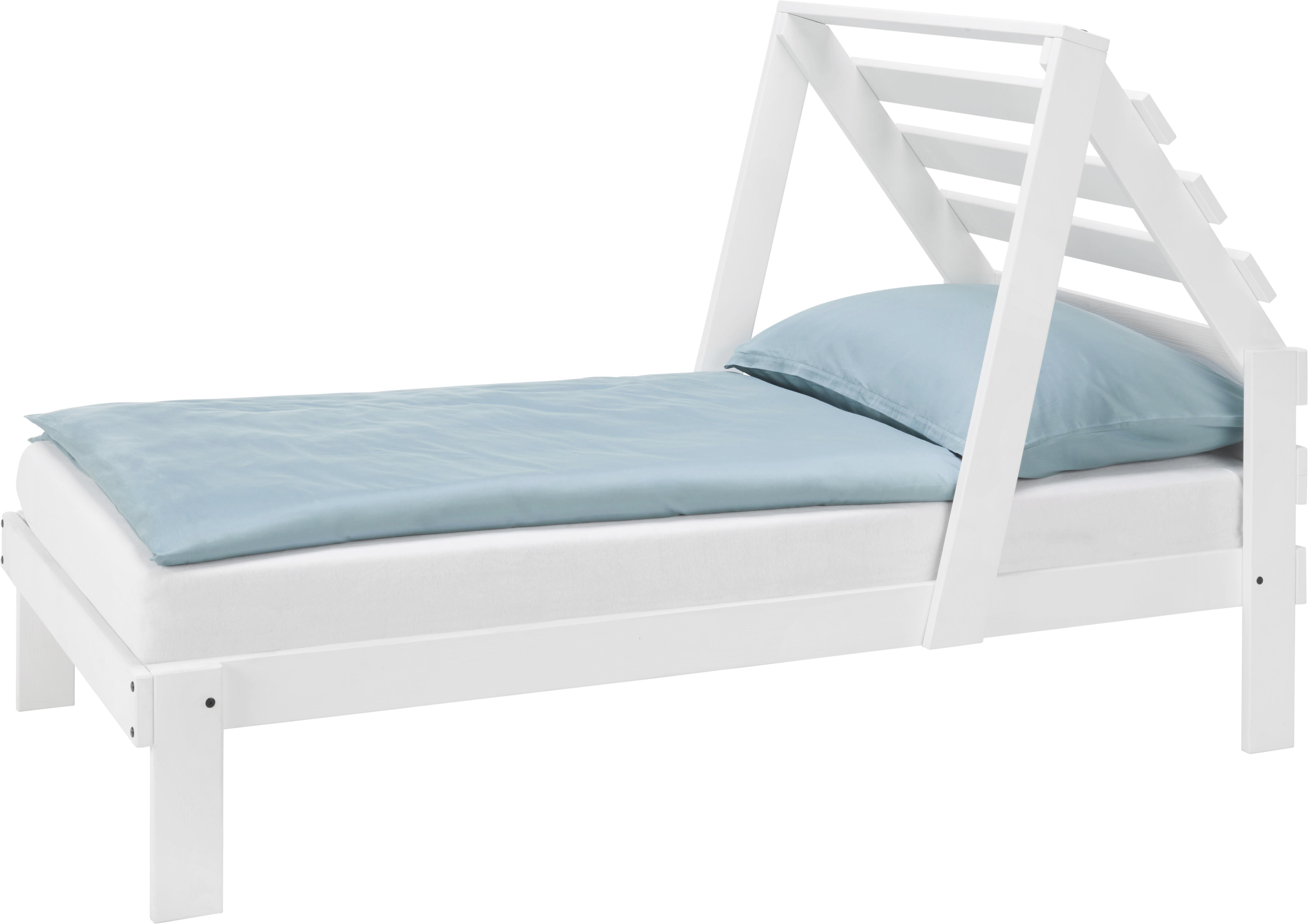 Bett in Weiß, ca. 90x200cm - Weiß, MODERN, Holz (205/165/100cm) - ZANDIARA