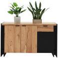 Sideboard Schwarz/Natur - Schwarz/Naturfarben, LIFESTYLE, Holz/Holzwerkstoff (135/80/40cm) - Zandiara