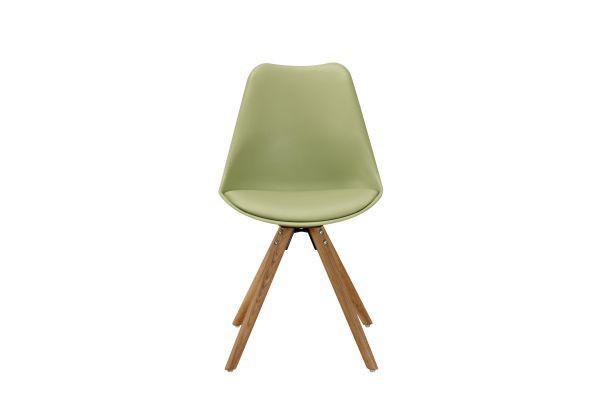 Szék Lilly - tölgy színű/zöld, modern, műanyag/textil (47/81/52cm)