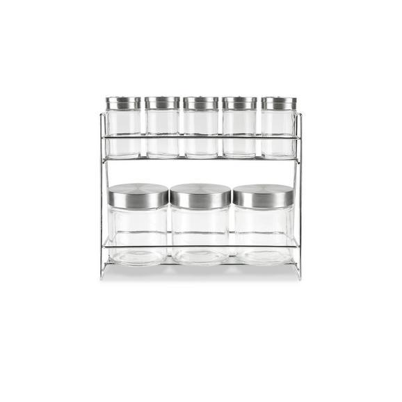 Raft Condimente Eleonore - clar/culoare inox, Konventionell, sticlă/metal (27,3/9,6/23cm) - Modern Living