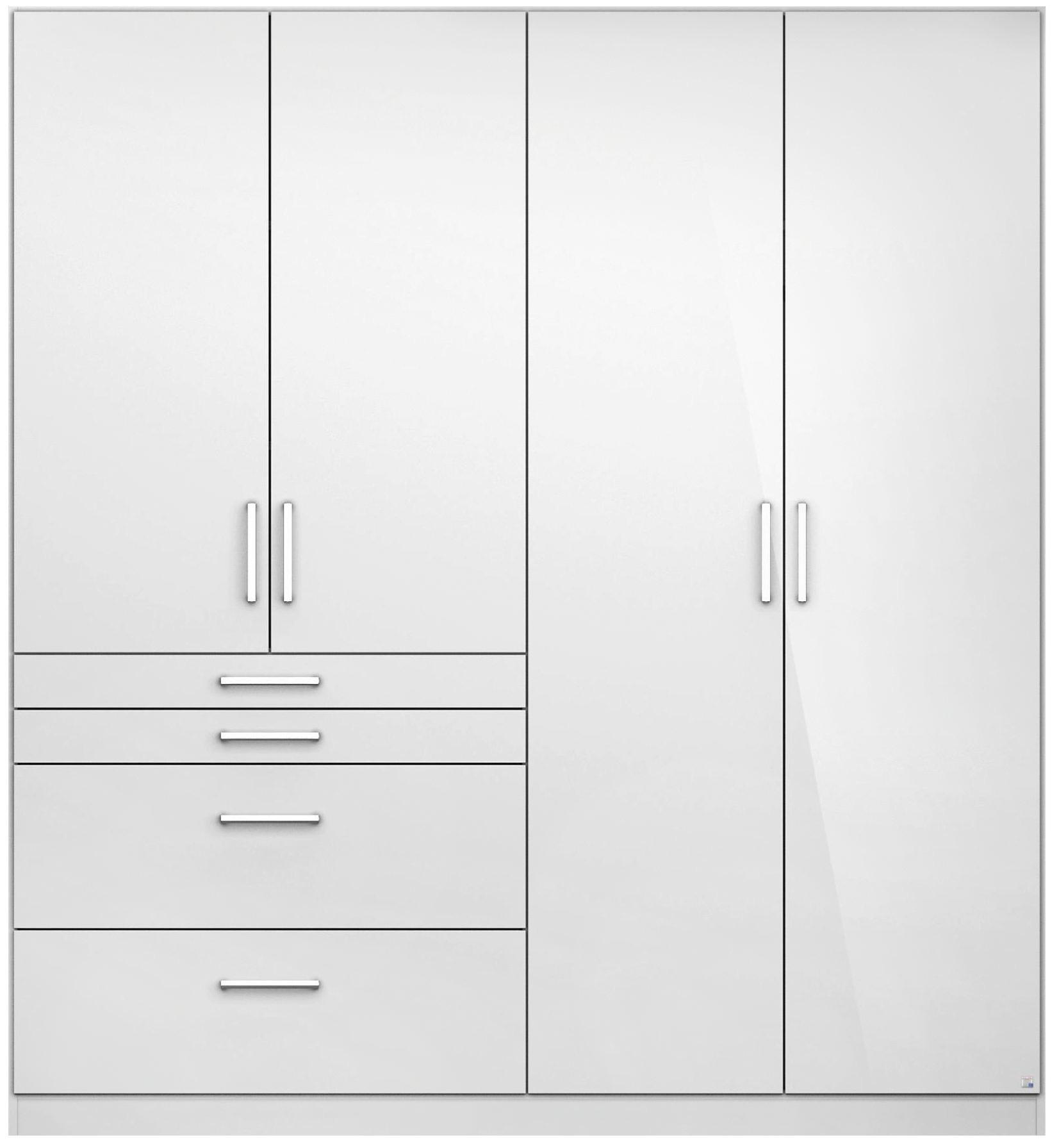 Drehtürenschrank in Weiß Hochglanz mit 4 Türen - Alufarben/Weiß, MODERN, Holzwerkstoff/Kunststoff (181/197/54cm) - MODERN LIVING