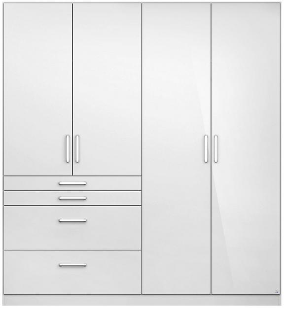 DREHTÜRENSCHRANK Weiß Hochglanz - Alufarben/Weiß, MODERN, Holzwerkstoff/Kunststoff (181/197/54cm) - MODERN LIVING