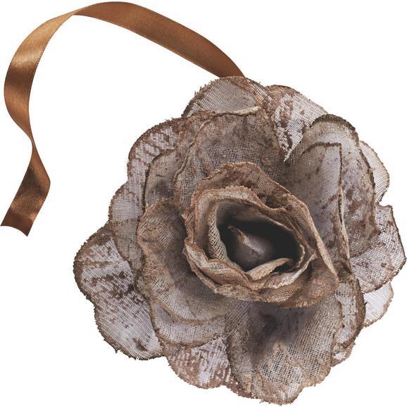 Dekorativna Sponka Rose - roza/bela, Romantika, tekstil (11cm) - Mömax modern living