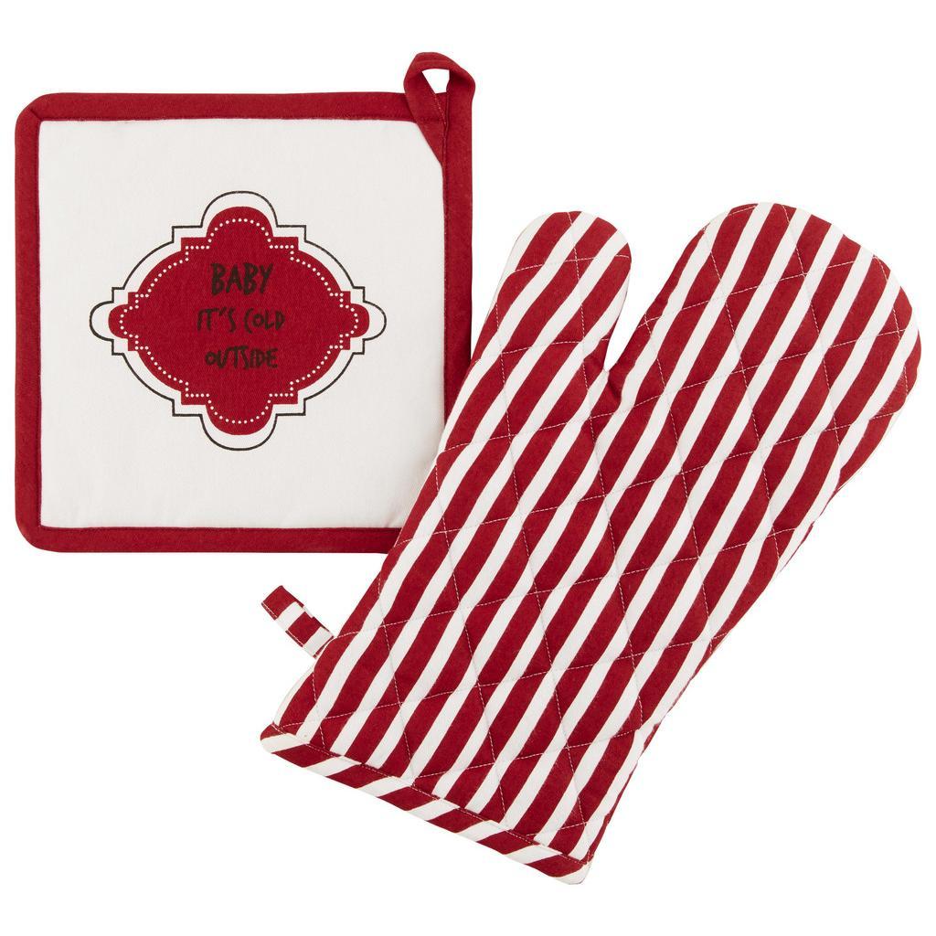 Topflappen und Handschuh Baby it's cold in Rot/Weiß