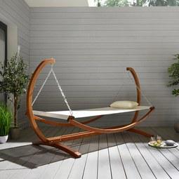 Garten-relaxliege Sydney - Braun/Weiß, Holz/Textil (272/118/131cm) - Premium Living