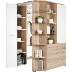 Eckschrank in Eichefarben - Eichefarben/Alufarben, Holz/Holzwerkstoff (124/198/148cm) - Modern Living