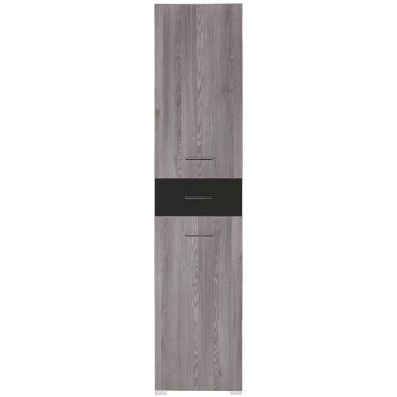 Regal Grau - Schwarz/Grau, MODERN, Glas/Holz (45/199/35cm) - Premium Living