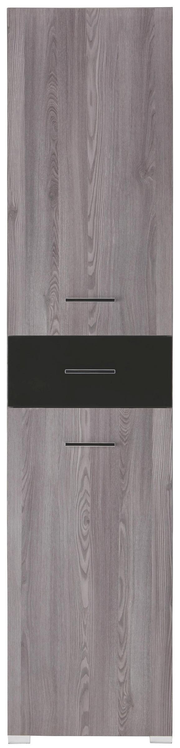 Regal in Grau - Schwarz/Grau, MODERN, Glas/Holz (45/199/35cm) - PREMIUM LIVING