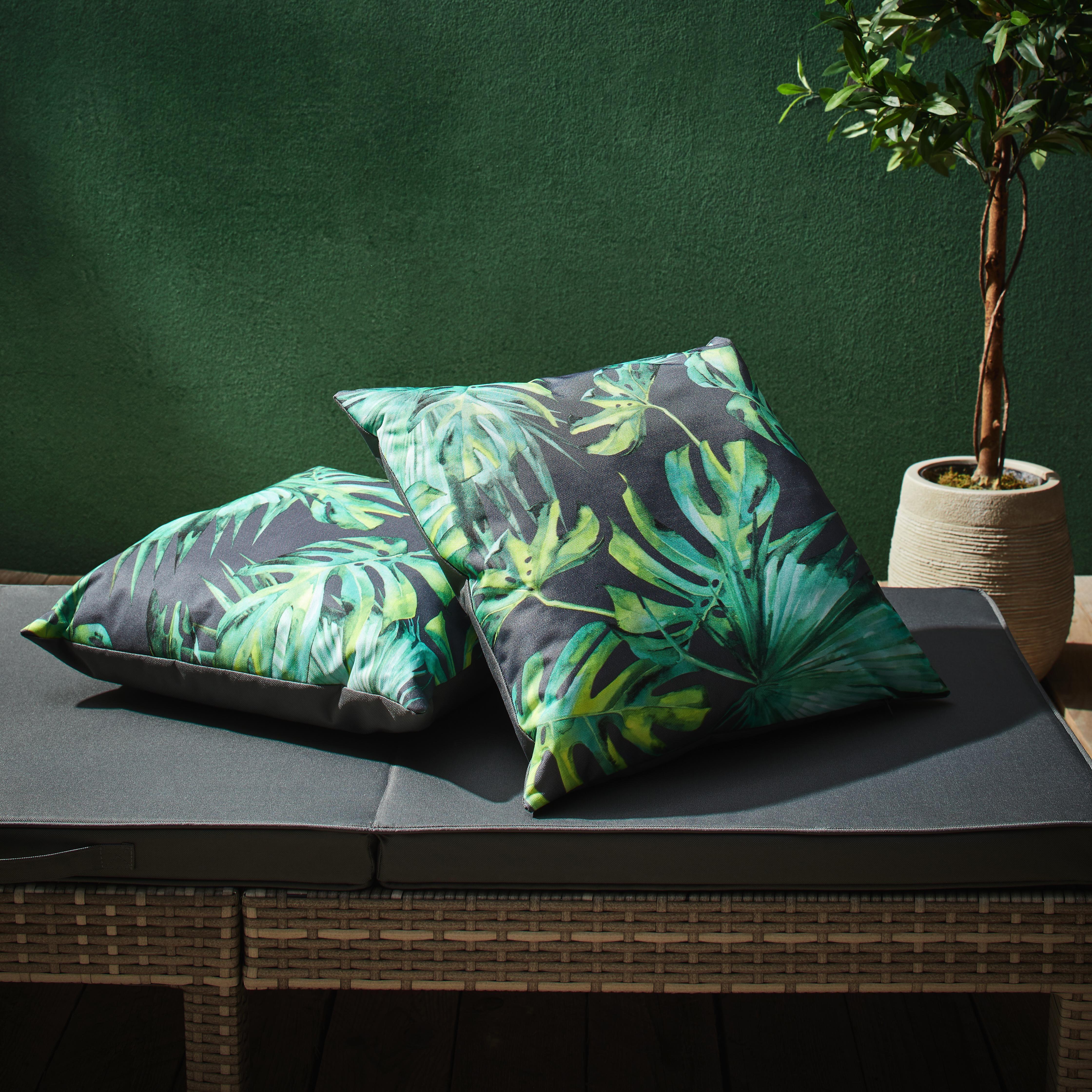 Outdoorkissen Polly  ca. 45x45cm - Dunkelgrau/Grün, MODERN, Textil (45/45cm) - Mömax modern living