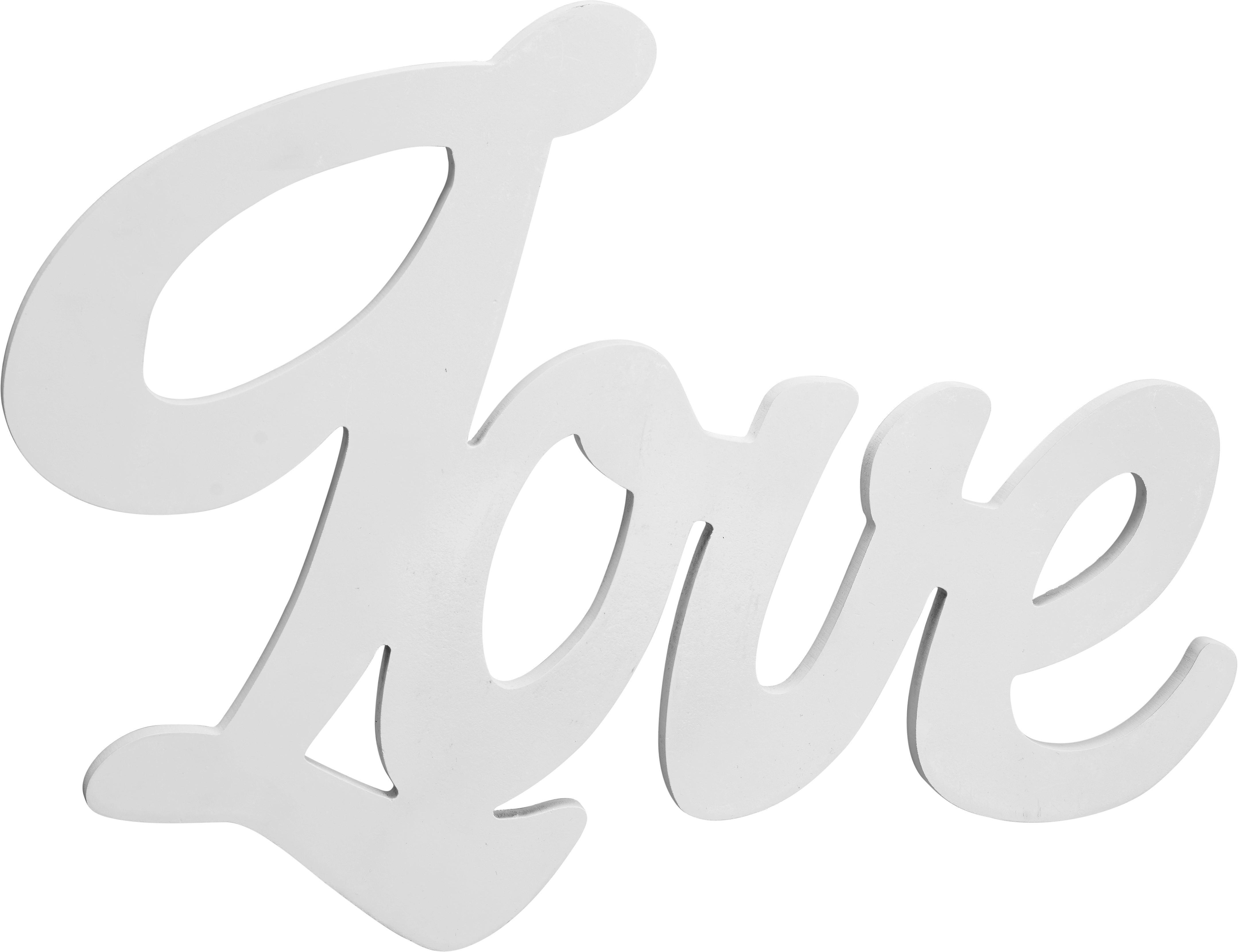 Dekobuchstaben Love in Weiß - Weiß, MODERN, Holzwerkstoff (40/30/1,2cm) - MÖMAX modern living