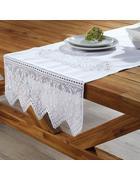 Tischläufer in Weiß ca.50/150 cm ''Jasmin'' - Weiß, KONVENTIONELL, Textil (50/150cm) - Bessagi Home