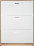 Schuhschrank in Eiche/Weiß - Chromfarben/Eichefarben, MODERN, Holzwerkstoff/Kunststoff (93/124/25cm) - Mömax modern living