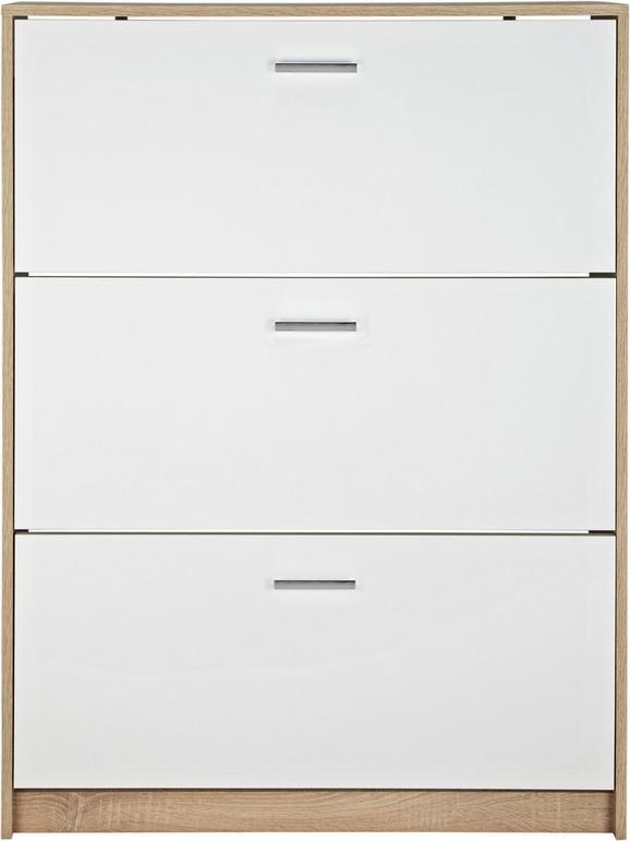 Schuhschrank Weiß/Eichefarben - Chromfarben/Eichefarben, MODERN, Holzwerkstoff/Kunststoff (93/124/25cm) - Mömax modern living