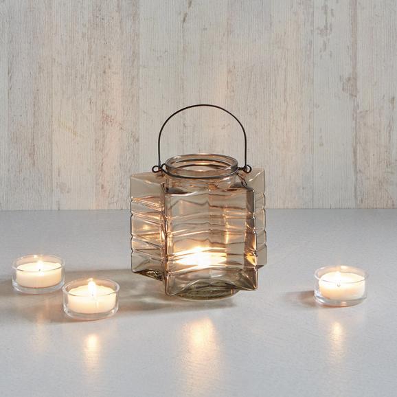 Teelichthalter Celine - Schwarz/Braun, MODERN, Glas/Metall (18/17,33cm) - MÖMAX modern living