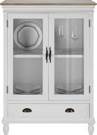 Vitrine Claudia Vintage - Eichefarben/Weiß, KONVENTIONELL, Glas/Holz (84/118/40cm) - Mömax modern living