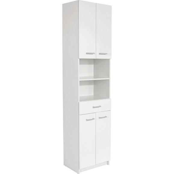 Dulap Înalt Fiola - alb/culoare crom, Konventionell, compozit lemnos/metal (50/192/33,5cm)