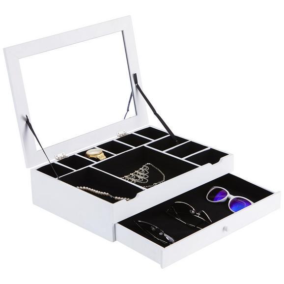 Ékszertartó Rekesz Mia 2 - Fehér, modern, Faalapú anyag/Üveg (40/30/10cm)