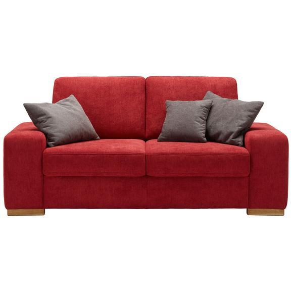 Zweisitzer-Sofa in Rot mit Rückenkissen - Rot, KONVENTIONELL, Holzwerkstoff (194/88/95cm) - Premium Living