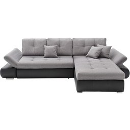 Wohnlandschaft in Grau mit Bettfunktion - Schwarz/Grau, MODERN, Textil (303/185cm) - Modern Living