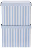 Box mit Deckel Jimmy Blau/Weiß - Blau/Weiß, Karton (42/32/32cm) - Mömax modern living