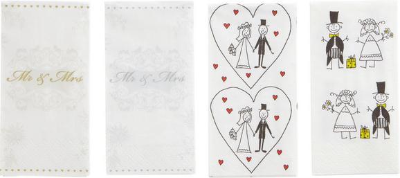 Robček Mr. & Mrs. Silver - bela/srebrna, Romantika, papir (23/18/15cm)