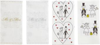 Zsebkendő Mr & Mrs - Fehér/Ezüst, romantikus/Landhaus, Papír (23/18/15cm)
