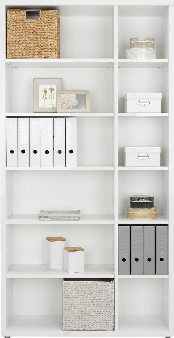 Regal Weiß - Alufarben/Weiß, MODERN, Holzwerkstoff/Kunststoff (113/220/37cm) - Premium Living
