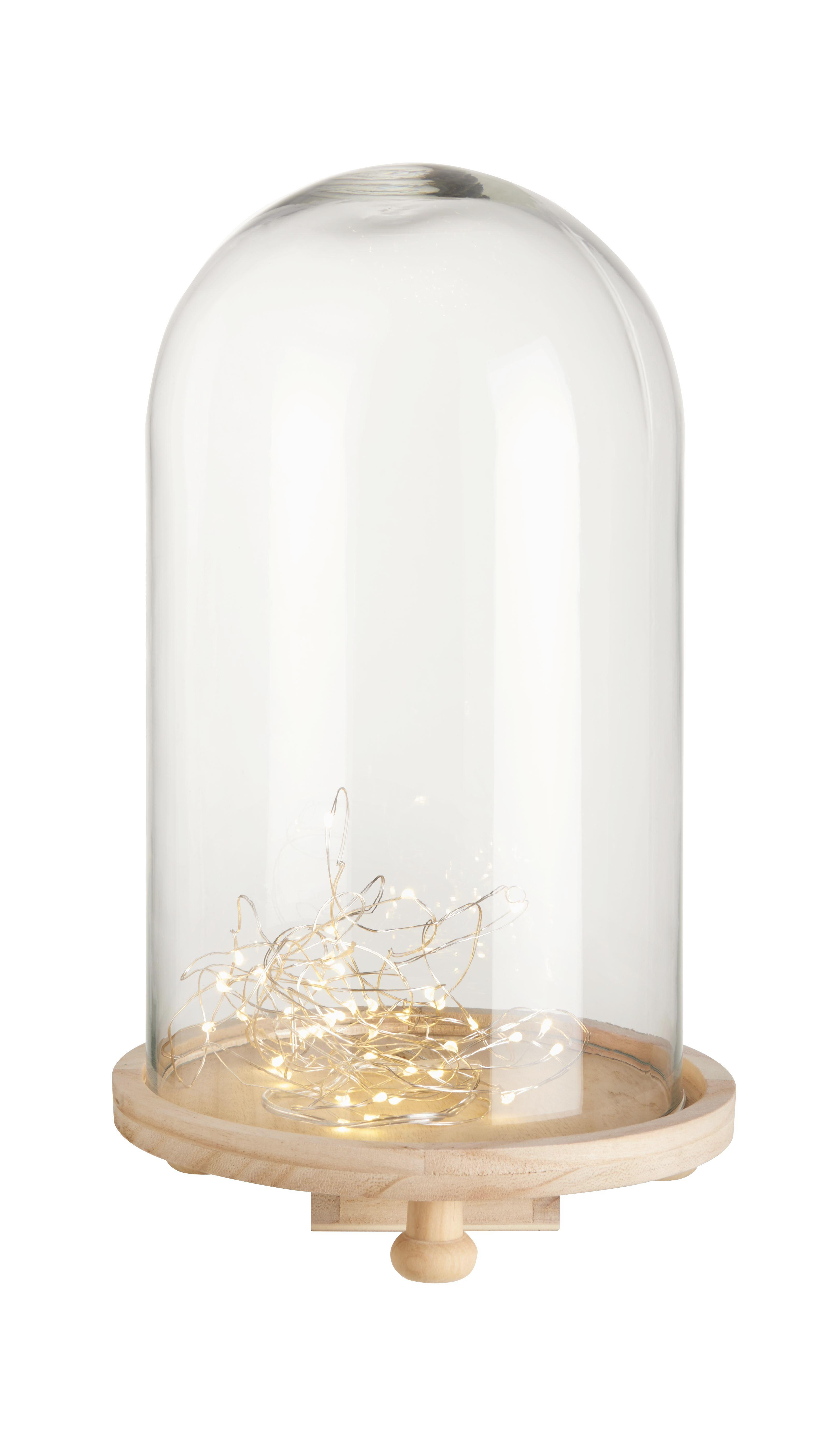 Dekoglocke Gabriele aus Holz und Klarglas - Klar/Naturfarben, Glas/Holz (18,3/30cm) - MÖMAX modern living