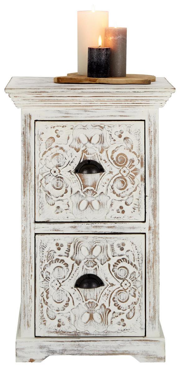 Kommode Weiß - Messingfarben/Weiß, Holz/Holzwerkstoff (50/80/45cm) - Premium Living