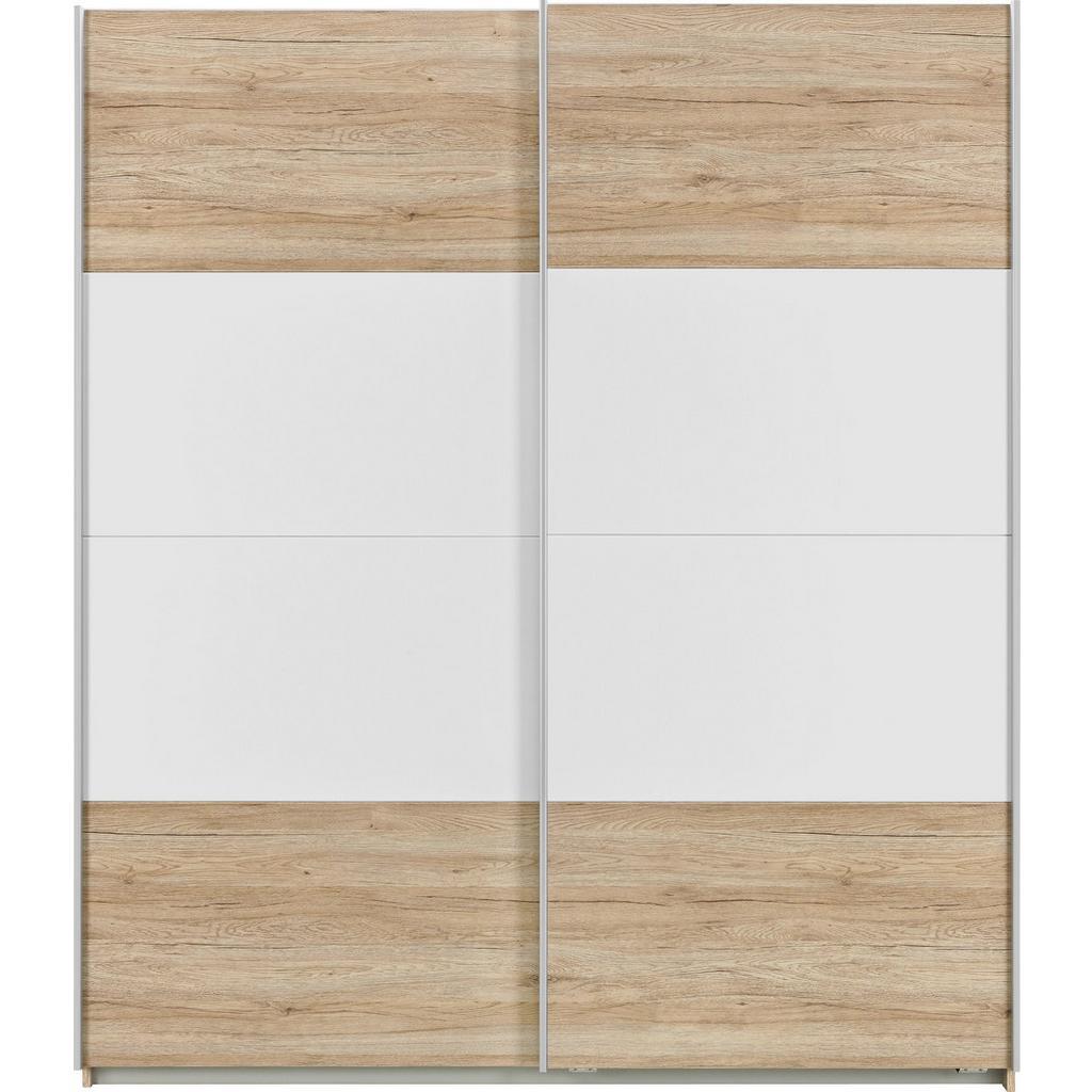 Schwebetürenschrank Braun/Weiß