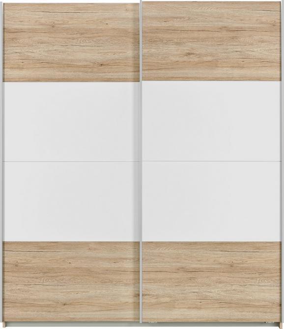 Schwebetürenschrank Braun/Weiß - Alufarben, MODERN, Holzwerkstoff/Metall (181/210/62cm) - Modern Living