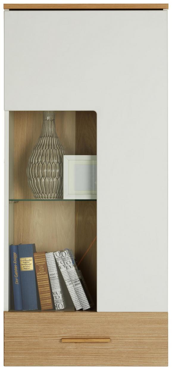 Hängevitrine Weiß/Eiche. - Eichefarben/Weiß, LIFESTYLE, Holz/Holzwerkstoff (50/121/34cm) - Mömax modern living