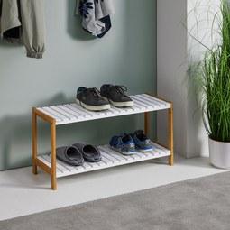 Schuhregal Mirella - Buchefarben/Weiß, MODERN, Holz (70/36/26cm) - Modern Living