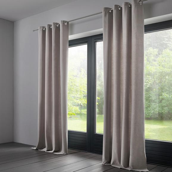 Vorhang Hannah aus Samt ca.135x245cm - Hellgrau, KONVENTIONELL, Textil (135/245cm) - Bessagi Home