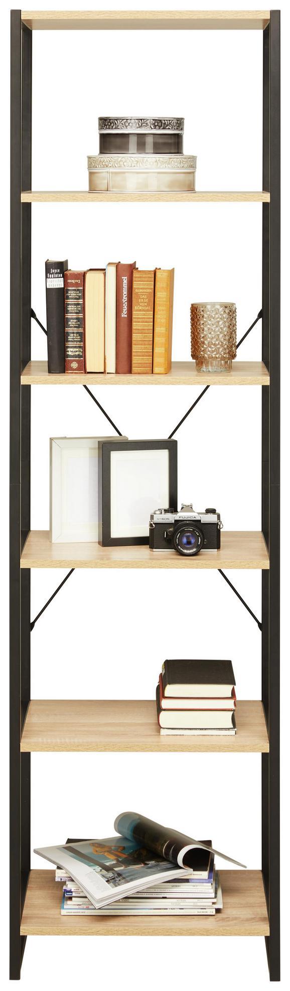 Regal Schwarz/Sonoma Eiche - Schwarz/Sonoma Eiche, MODERN, Holzwerkstoff/Metall (50/180/35cm) - Modern Living
