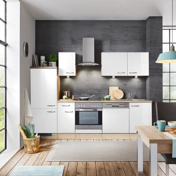 Küchenblock Venezia-Valero Hochglanz Weiß - Eichefarben/Weiß, MODERN, Holzwerkstoff (270cm) - FlexWell.ai