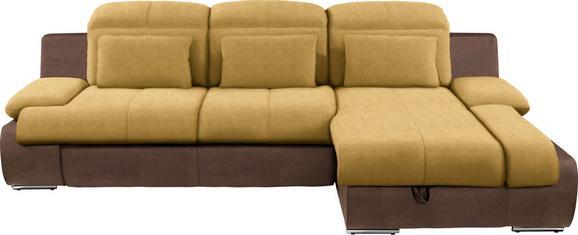 Kutna Garnitura L-oblika Multi 260x184 Cm - žuta/boje kroma, Modern, tekstil/metal (260/184cm)