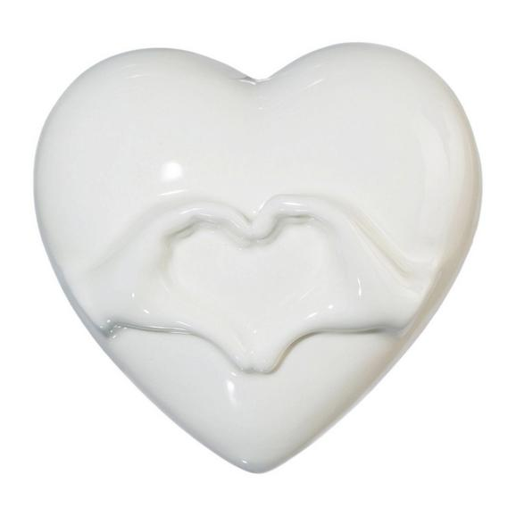 Okrasno Srce Lara - bela, Romantika, keramika (9,3/8,5cm)