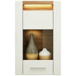 Hängevitrine in Weiß Hochglanz - Chromfarben/Eichefarben, MODERN, Glas/Holzwerkstoff (60/98,5/30cm) - Modern Living
