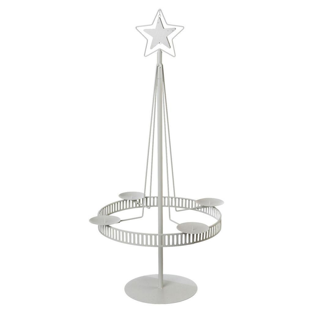 Kerzenhalter Stella aus Metall in Weiß