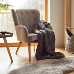 Sessel in Hellgrau 'Cooper' - Hellgrau, MODERN, Holz/Textil (69/95/76cm) - Bessagi Home