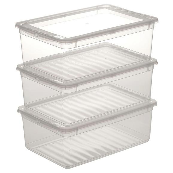 Aufbewahrungsboxen-Set Beate 3-teilig ca. 11 l - Transparent, Kunststoff (39/26,5/20,5cm) - Modern Living
