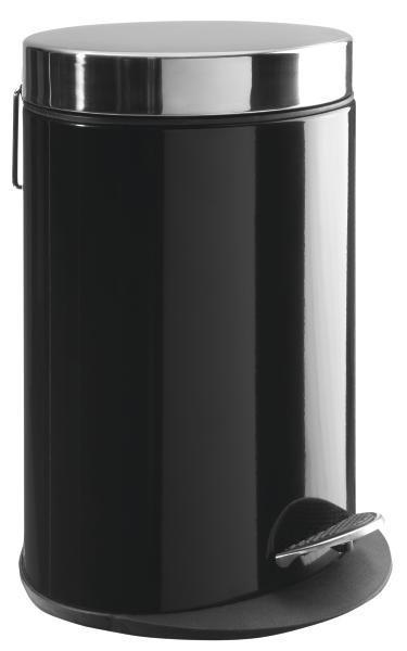 Pedálos Szemetes Fekete - Nemesacél/Fekete, modern, Műanyag/Fém (22/29,5/16,5cm) - Mömax modern living