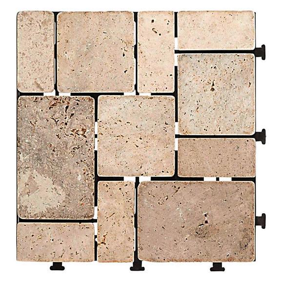 Terrassenfliese Stone in Naturfarben - Naturfarben, Kunststoff/Stein (30/2,8/30cm) - Modern Living