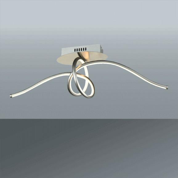 LED-Deckenleuchte Fran max. 30 Watt - Nickelfarben, ROMANTIK / LANDHAUS, Kunststoff/Metall (70/23cm) - Premium Living