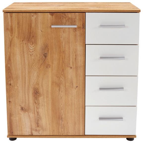 Comodă Katrin - alb/culoare lemn stejar, Konventionell, plastic/compozit lemnos (81/83/41cm)