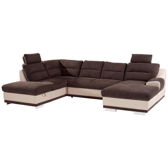 Sedežna Garnitura Seaside - krom/rjava, Konvencionalno, kovina/tekstil (218/334/165cm) - Premium Living