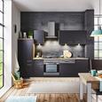 Küchenblock Milano Anthrazit/Eiche - Eichefarben/Anthrazit, MODERN, Holzwerkstoff (270cm) - FlexWell.ai