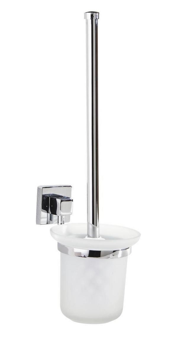 WC-Bürstengarnitur Mare in Chrom aus Glas - Chromfarben/Weiß, Glas/Kunststoff (11/38/15cm) - Mömax modern living