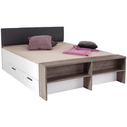 Postelja 180x200 Cm Julia - bela/hrast, Konvencionalno, tekstil/leseni material (186/54-95/226cm) - Mömax modern living